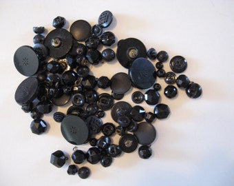 75 Vintage Black Button Collection Glass Plastic Embossed Cut Glass Shoe Buttons