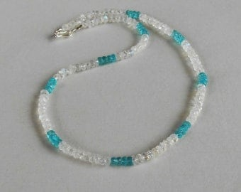 Gemstone Necklace Blue Apatite Rainbow Moonstone /  15.75  inches long / silver 925 clasp