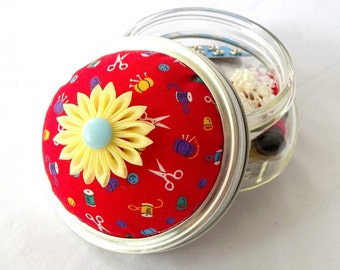 Pin Cushion Mason Jar Sewing Kit with Buttons and Trims Red and Yellow Cute Gift Idea