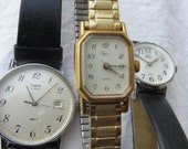 Three Timex Watches For Crafting Vintage Two Leather One Gold Linked Not sure if Works