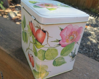 Pretty Tin Box Container Made in England Shabby Style Floral and Fruit Hinged Lid