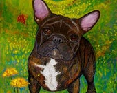French bulldog  art painting pet portrait ORIGINAL autumn dog art oil pastel landscape leaves