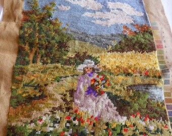 Vintage finished completed needlepoint, unframed, Flower girl, made in Germany