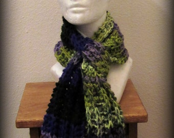 scarf - hand knit scarf - knit scarf - acrylic knit scarf - ruffle scarf - purple scarf - blue scarf - lime green scarf