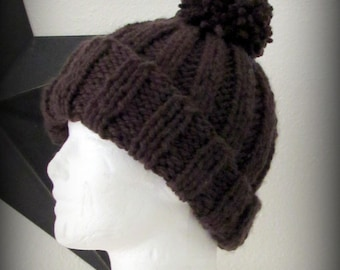 hat - knit hat - hand knit hat - hand made hat - beanie - pom pom hat - knit pom pom hat - brown knit hat - brown pom pom hat - brown beanie