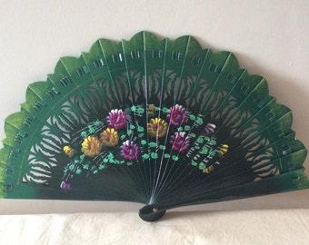 Regency/Victorian Style Fan. Brise. Green floral. Hand Painted Wood