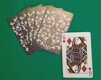 Reserved Vintage Cream & Gold Metallic Playing Cards - Decorative Scroll - Complete Deck