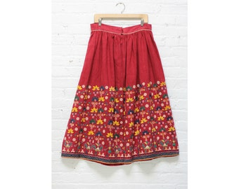 1930s Embroidered Skirt L • Red Folk Midi Skirt Large • Antique Embroidery | SK329