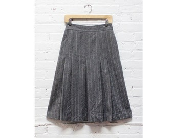 Ted Lapidus Skirt M • Gray Striped Skirt M • Pleated Midi Skirt • Grey Wool Midi Skirt • Pinstripe Skirt • High Waisted Midi Skirt | SK303