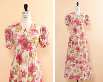 Pink Floral Dress S • Puffy Sleeves Dress • Pink Maxi Dress • 60s Floral Dress • Nylon Dress • Summer Dress • Prairie Dress Maxi   D815