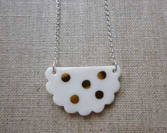 Polka Dot Half Doily Necklace