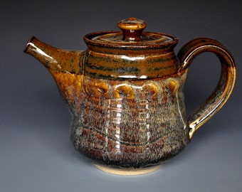 Dark Russet Pottery Teapot Ceramic Teapot  Stoneware Tea Pot Handmade Tea pot A