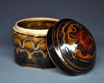Dark Umber Ceramic Jar Pottery Canister Stoneware Jar Small Handmade Jar A