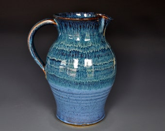 Blue Stoneware Ceramic Pitcher Hand Made Pottery Jug A