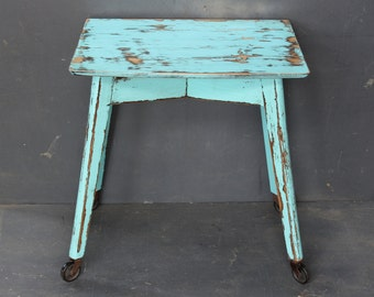 Vintage 1940's/50's side table with wheels, shabby chic Side table,Turquoise, End table,Console Table with wheels, distressed painted Table