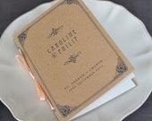 Art Deco Wedding Program / Vintage Order of Service / Pocket-sized Booklet Recycled Kraft Brown Cover / Vintage 1920s Wedding / ONE SAMPLE