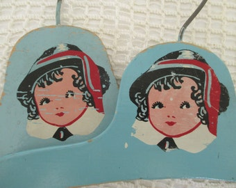 Vintage 1940's Girl Face Wooden Hangers - Light Blue Painted Child's Clothes Hanger - Cottage Decor - Shabby Decor - 2 in Lot