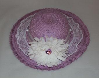 Tea Party Hat - Lavender Easter Bonnet with Satin Ribbon - Girls Sun Hat - Easter Hat - Birthday Hat - Sunday Dress Hat - Derby Hat - 1636