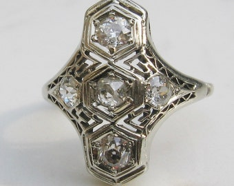 Antique Art Deco Old European Cut Diamond 18k White Gold Filigree Engagement Cocktail Ring with over .50 Total Carat Weight, Size 4.75