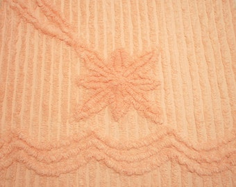 Plush Cantaloupe or Peach Vintage Chenille Bedspread Fabric - 2 pieces