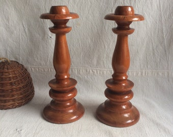 Vintage hand made cherry candlestick holders   Wood candle holder