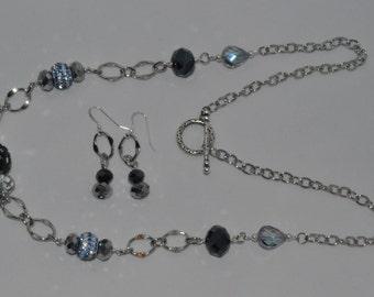 Multi blues long necklace set