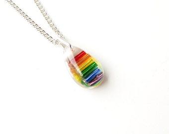 Small Rainbow Necklace, Rainbow Colour Resin Pendant, Gay Pride, Rainbow Jewelry, Resin Jewelry Jewellery, LGBT, UK, 2255