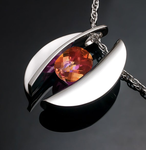statement necklace, mystic topaz, silver pendant, sculptural necklace, bold necklace, modern design, bold necklace, tension set stone - 3490