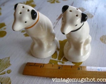 "Nipper RCA Dog 1950's  Salt and Papper Shakers Vintage Excellent  3 1/2"" Jack Russell Terrier His Master's Voice"