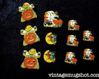 11 Halloween Vintage 1940's TRICK OR TREAT  Halloween Stickers Witch Pumpkin Scary Scrapbooking
