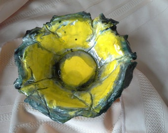 Yellow Black Lotus Bowl