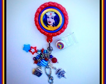 "Nurse Badge Reel ""Super Nurse Wonder Woman"" Retractable ID Name Tag, Nursing Accessories, Unique Gifts, Medical Badges, Gifts for Coworkers"