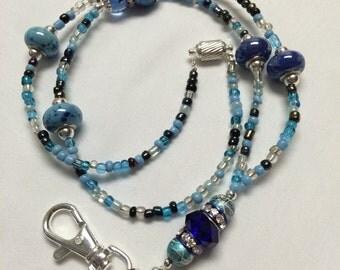 Turquoise and Blue Beaded Lanyard / ID Badge Holder
