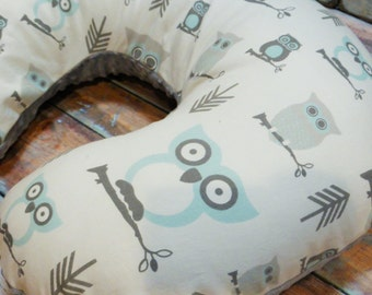 Nursing Pillow Cover, Baby Boy Hooty Owls in Mist Boppy Cover silver gray minky