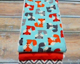 Baby Burp Cloths-Gender Neutral Burp Cloths - Set of 3-Little Fox - READY TO SHIP