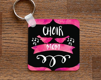 Choir Mom - Pink Music and Birds Themed Keychain