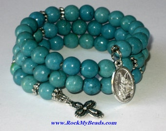 Turquoise Crystal Memory Wire Rosary Bracelet,rosary,religious bracelet,praying beads,wrap rosary,rosary beads,prayer beads,wrap bracelet