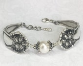 "Antique Spoon Bracelet, Spoon Jewelry, ""Orange Blossom"" 1910, Silverware Jewelry, Customizable"