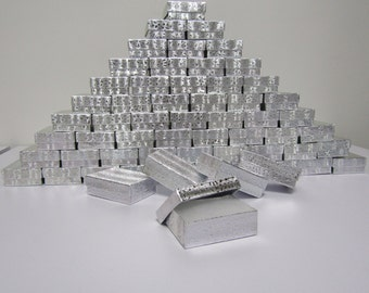 100 Pack Silver Boxes (3.25 x 2.25 x 1 in) // ECONOMY SIZE //