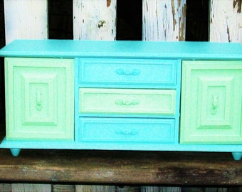 Vintage Sea Foam Green and Robins Egg Blue Jewelry Box  Music Box Shabby Chic Beach Decor