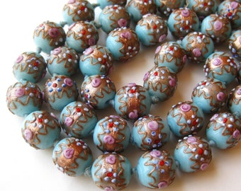 Vintage 60s Italian Venetian Blue Art Glass Gold Fleck Aventurine Wedding Cake Murano Bead Long Necklace