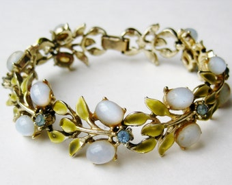 Reserved - Vintage Coro Gold Enamel Moonstone Rhinestone Panel Link Bracelet