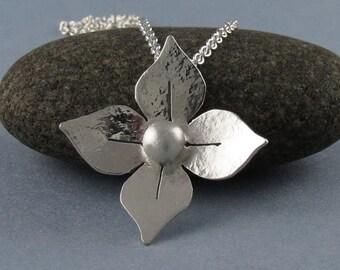 Sterling Silver Flower Pendant Necklace-Handmade