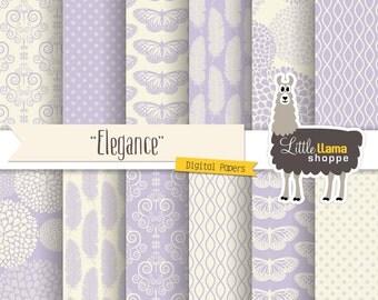Lavender Digital Paper, Lilac Wedding Digital Paper, Light Purple Elegant Scrapbook Paper Pack, Commercial Use, INSTANT DOWNLOAD