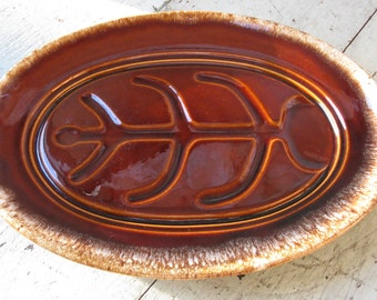 hull brown drip meat platter mid century ironstone over 14 inches long rustic french farmhouse