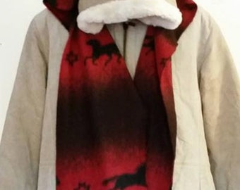 Red Fleece Hat/Scarf with Horses