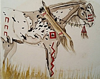 Painting - Copy of Original Artwork (War Pony) Watercolors - Painting - Painted - Picture - Art - Decorative - Wall Art -  Gift  Idea Poster