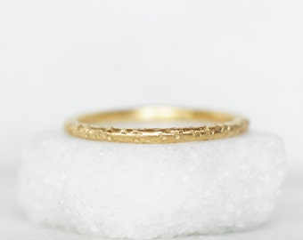 Sparkling Sand Gold Wedding Band- Choose 14k OR 18k Gold - Yellow OR Rose Gold - Eco-Friendly Recycled Gold