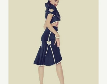 ON SALE Pin Up // 1950,s style // Navy high waist fishtail skirt with white seamed detail, buttons and bows.