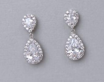 Crystal Teardrop Earrings, Crystal Bridal Drop Earrings,  Bridal Jewelry, Bridesmaid Earrings, TAMARA S